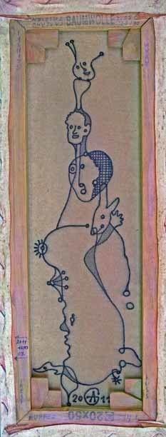 Kuss (Rückseite des Bildes), Acryl-Tusche auf Leinwand, 20 x 50 cm