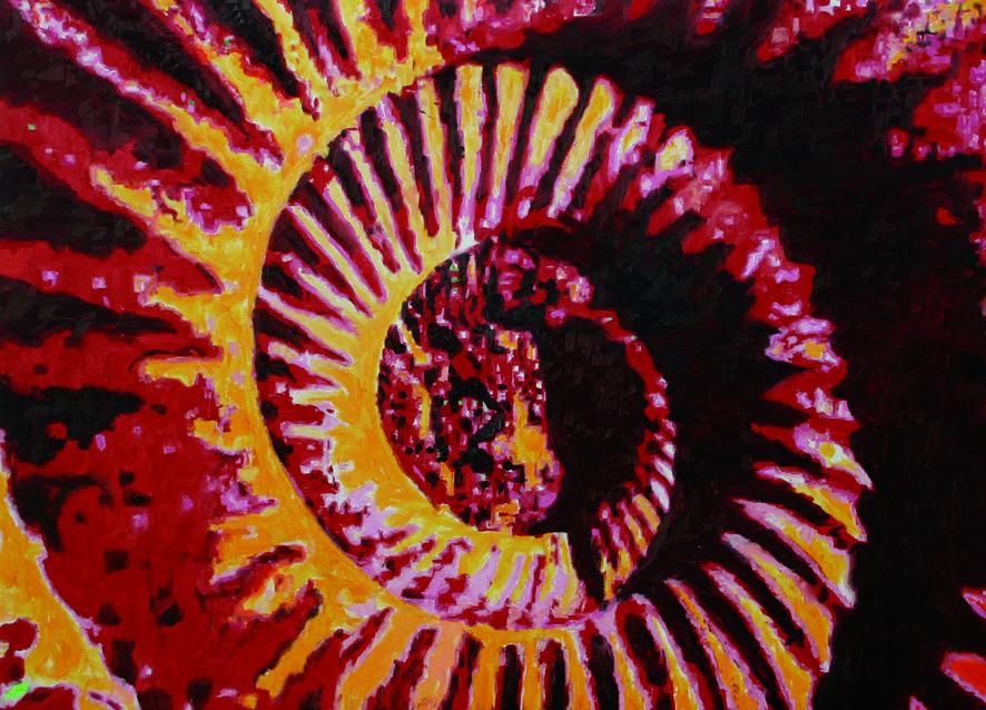 Ammonite_deep_red_100x140_cm_Öl_auf_Leinwand
