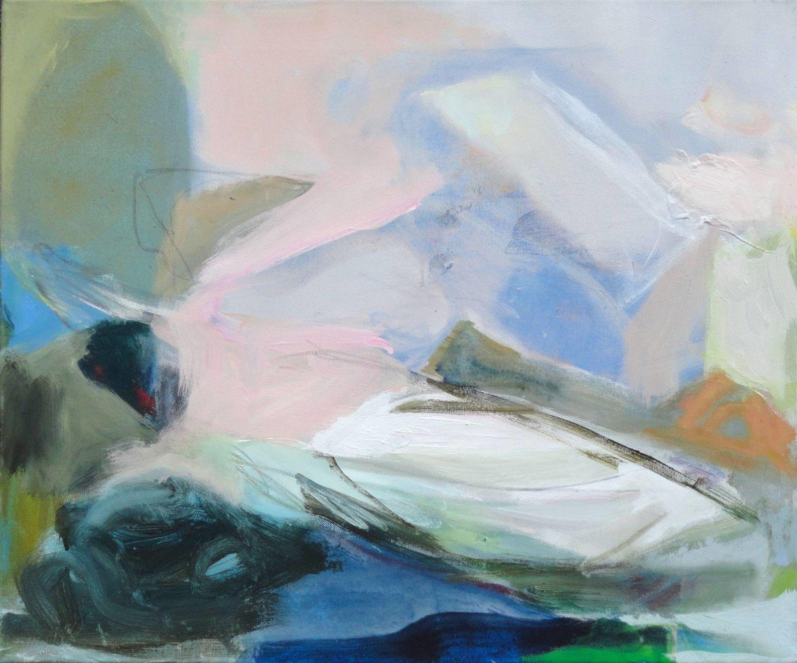 """Ankunft in rosa"", 2015. Acryl auf Leinand, 54 x 60 cm"