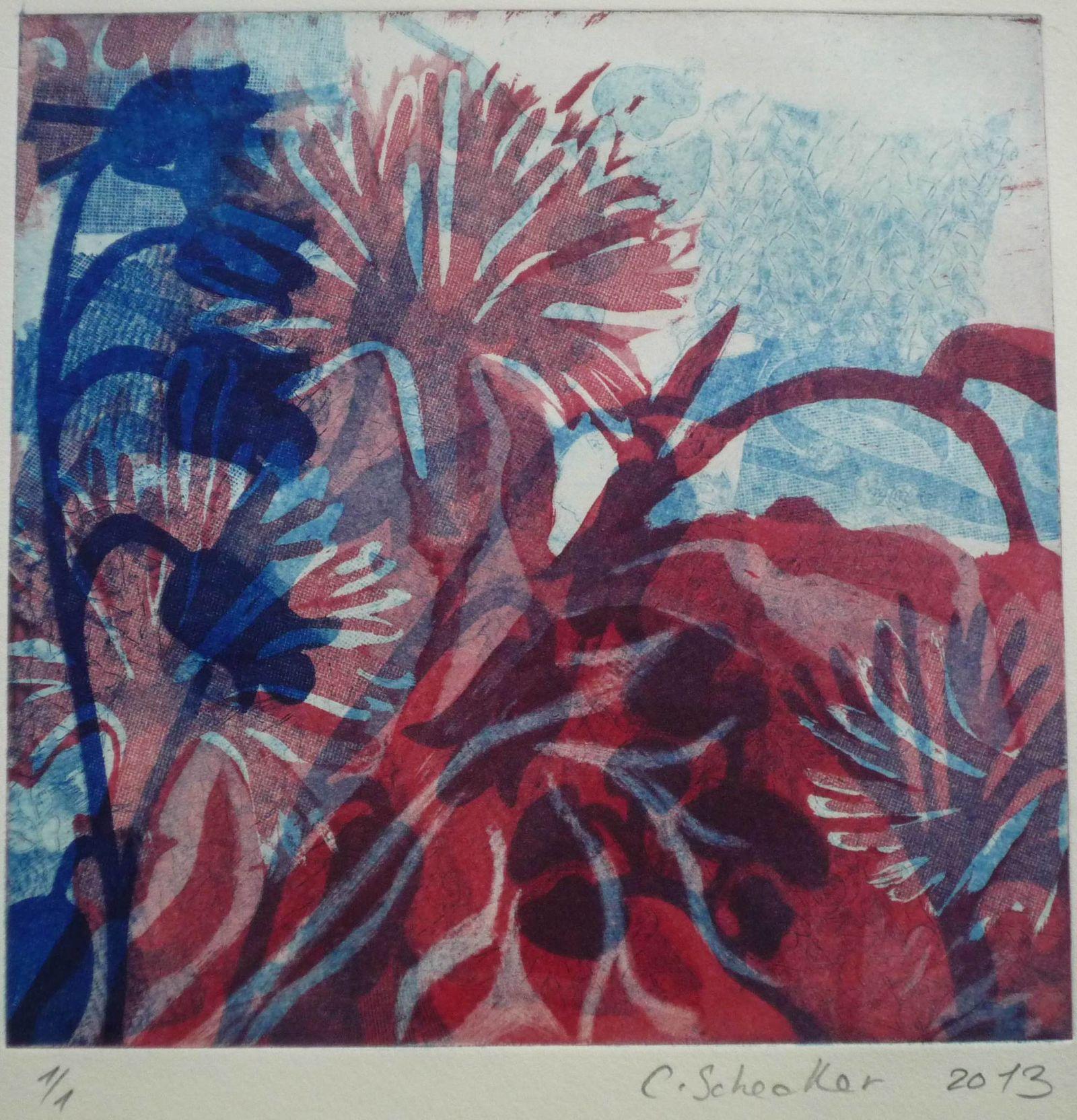 Mit Glockenblume, 2-farbige Radierung/Aquatinta, 20x20cm