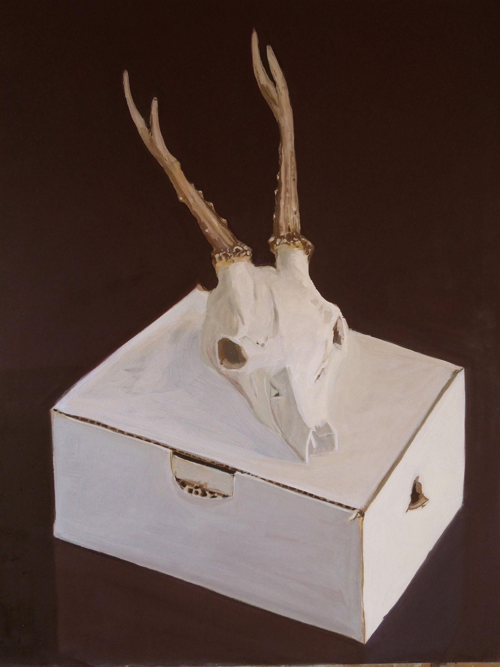 Rehbockschädel auf Schachtel, 2013, Oel a/LW, 65x55 cm