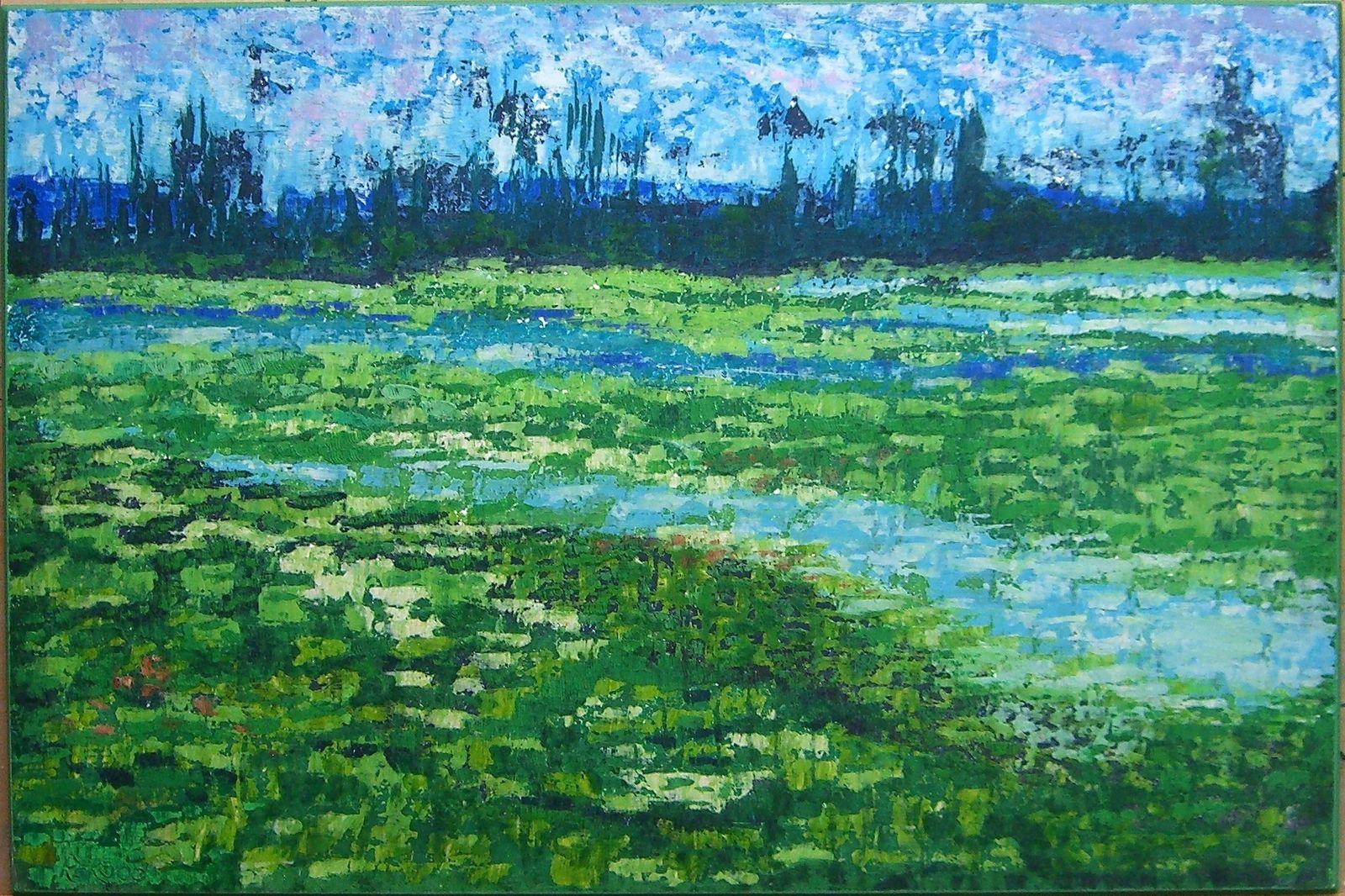 Sumpflandschaft, 2000, Ako-Spachtel, 47x71 cm