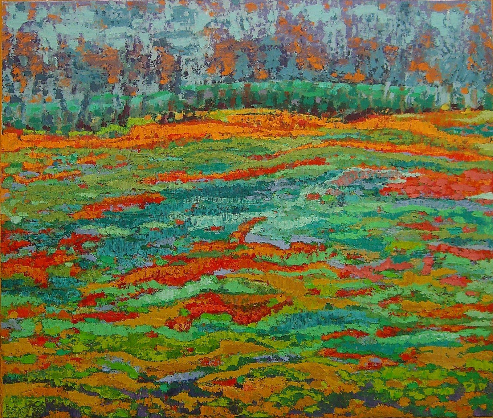 Moorlandschaft, 2000, Ako-Spachtel, 56x66 cm